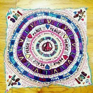VINTAGE Cashmere Hippie Tapestry Head Scarf